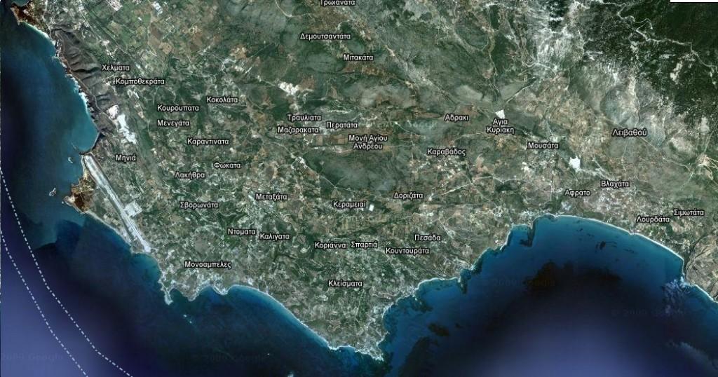 Χάρτης της Νότιας Κεφαλλονιάς.